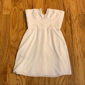 REPOSH bcbg strapless white dress